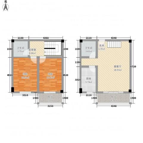 SOLO自由城2室1厅2卫1厨116.00㎡户型图