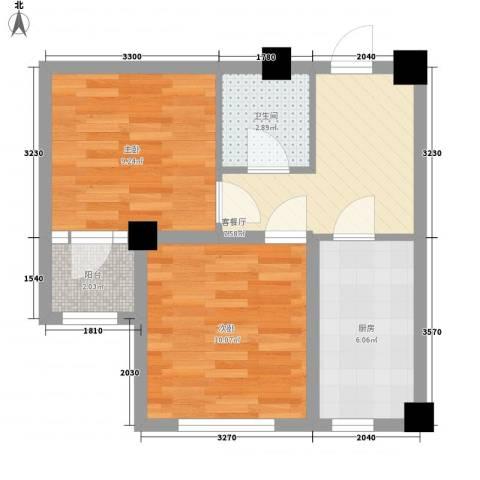 金港馨都2室1厅1卫1厨54.00㎡户型图