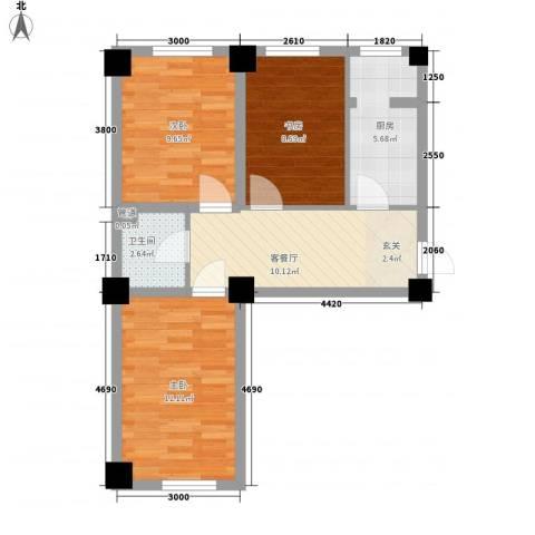 金港馨都3室1厅1卫1厨72.00㎡户型图