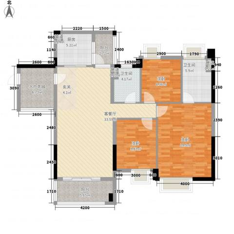 望龙轩3室1厅2卫1厨145.00㎡户型图