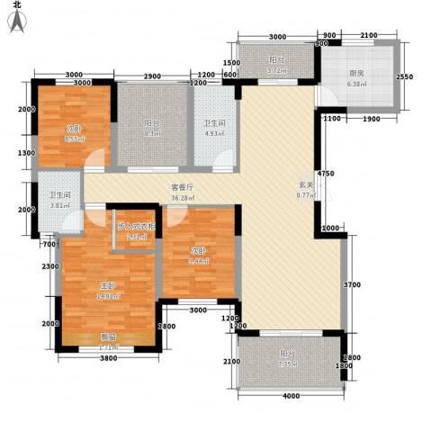 松山小区3室1厅2卫1厨105.87㎡户型图