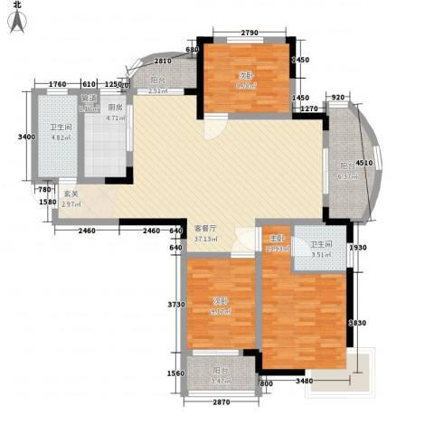 名桂坊3室1厅2卫1厨137.00㎡户型图