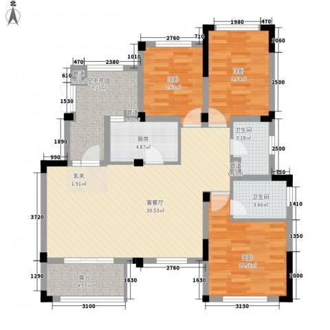 正商红河谷3室1厅2卫1厨126.00㎡户型图