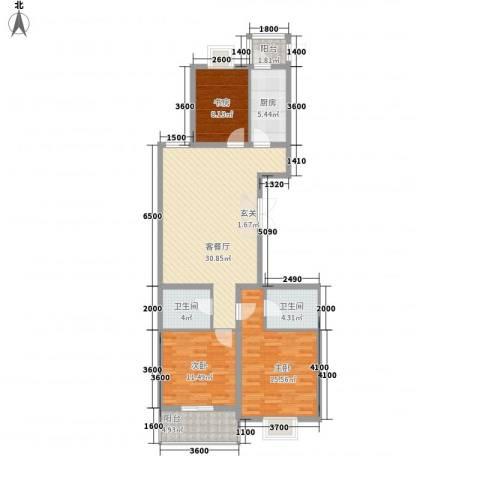 郡宇・万象城3室1厅2卫1厨125.00㎡户型图