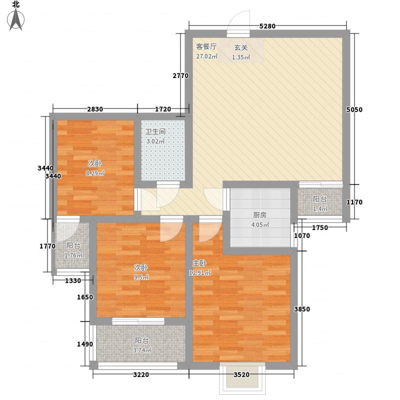 莲岳里8.00㎡户型3室