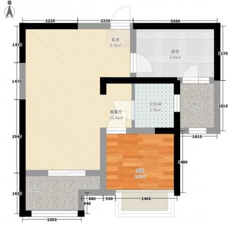 书香院1室1厅1卫1厨66.00㎡户型图