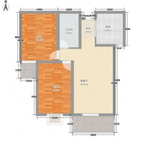 郡宇・万象城2室1厅1卫1厨103.00㎡户型图