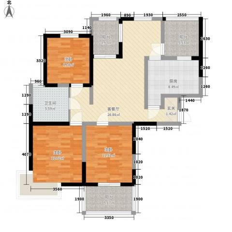 书香院3室1厅1卫1厨132.00㎡户型图