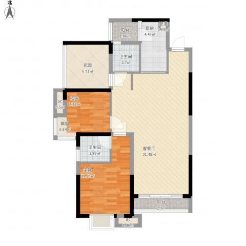 三正卧龙山一号2室1厅2卫1厨105.00㎡户型图