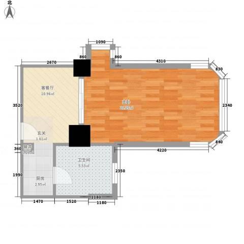 城市梦想家1室1厅1卫0厨53.00㎡户型图