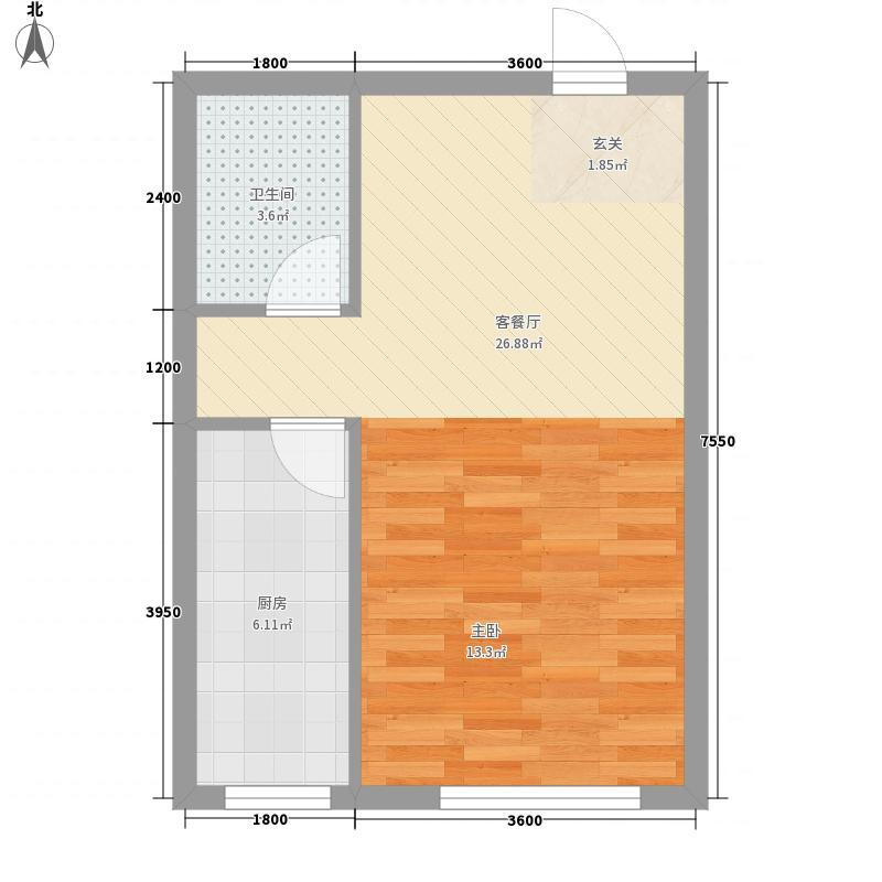 幸福茗苑51.30㎡一期2号楼标准层F户型1室1厅1卫1厨