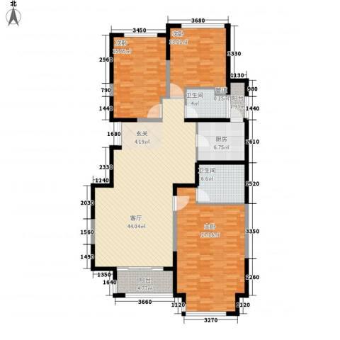 浩天天娇源3室1厅2卫1厨170.00㎡户型图