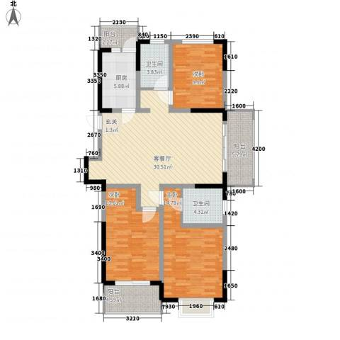 怡景花园3室1厅2卫1厨95.48㎡户型图
