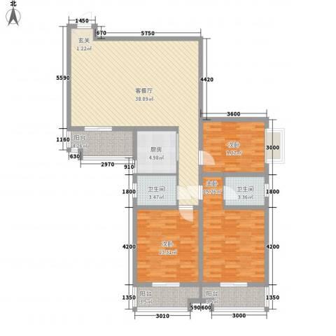 海棠花园3室1厅2卫1厨137.00㎡户型图