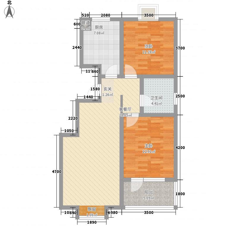 东盛・盛世嘉苑8.00㎡户型2室2厅1卫1厨