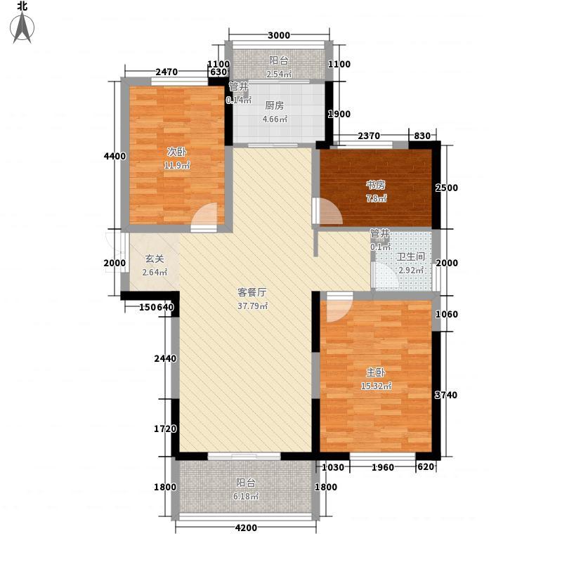 鸿德澜汀郡125.00㎡一期小高层北12-1户型3室2厅1卫1厨