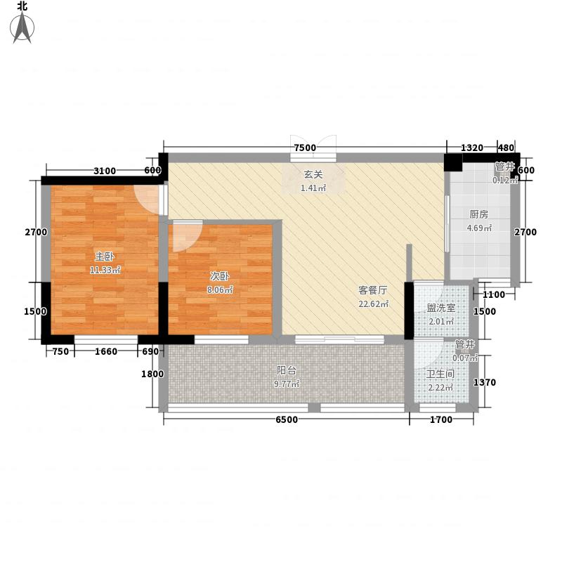鸿德澜汀郡一期小高层北12-3户型2室2厅1卫1厨
