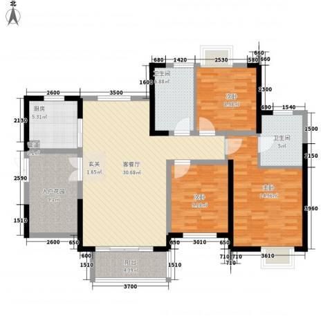 世纪城龙昌苑3室1厅2卫1厨107.55㎡户型图