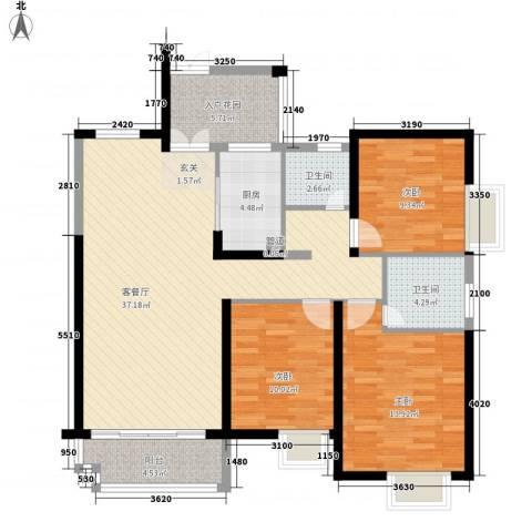 世纪城龙昌苑3室1厅2卫1厨126.00㎡户型图