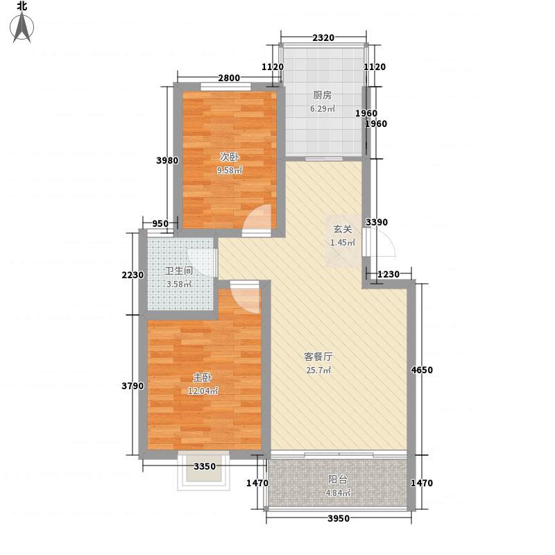 香格里拉丽景苑户型2室2厅1卫1厨