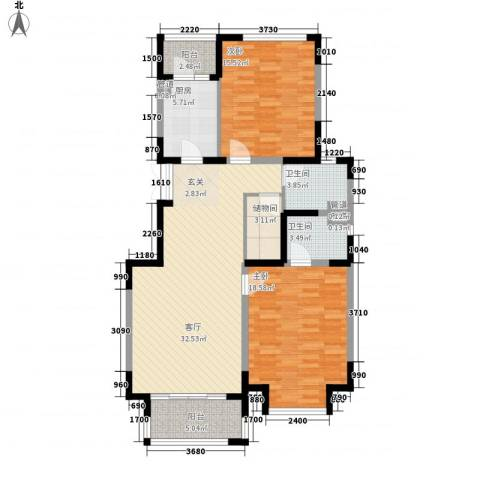 浩天天娇源2室1厅2卫1厨131.00㎡户型图