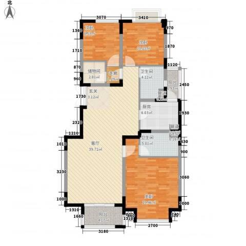 浩天天娇源3室1厅2卫1厨142.00㎡户型图