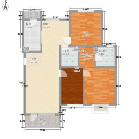 仁爱濠景庄园3室1厅2卫1厨96.99㎡户型图
