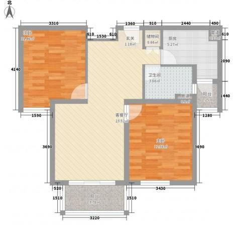 绿地崴廉公寓二期2室1厅1卫1厨90.00㎡户型图