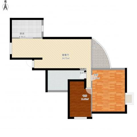 海富山水文园2室1厅1卫1厨127.00㎡户型图