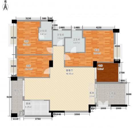 景观一品4室1厅3卫1厨176.00㎡户型图