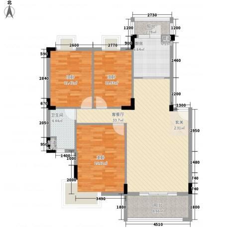 紫金园3室1厅1卫1厨105.00㎡户型图