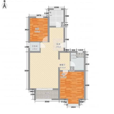 北京太阳城三期2室1厅2卫1厨109.00㎡户型图