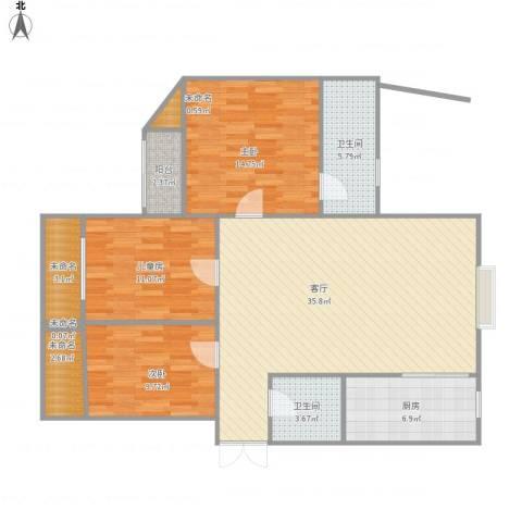 锦绣豪庭3室1厅2卫1厨130.00㎡户型图