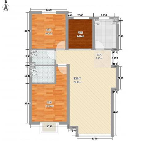 荣成花园3室1厅2卫1厨94.00㎡户型图
