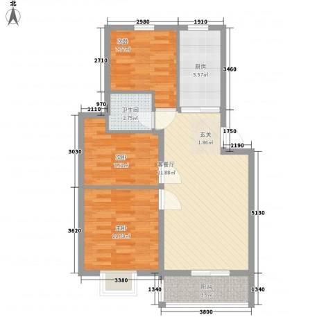 汇景豪庭3室1厅1卫1厨87.00㎡户型图
