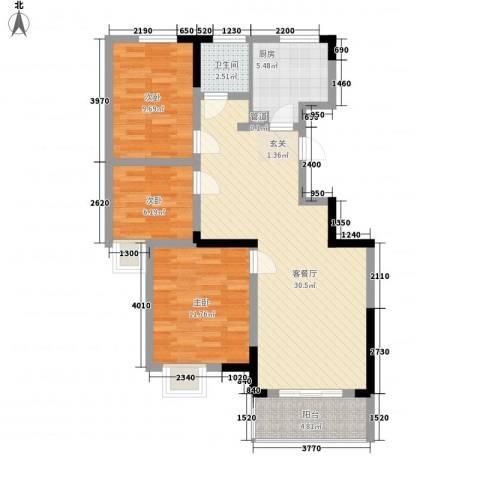 怡景花园3室1厅1卫1厨104.00㎡户型图