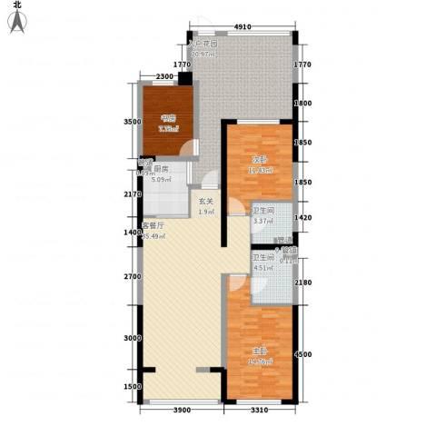 天力水榭春城3室1厅2卫1厨113.00㎡户型图
