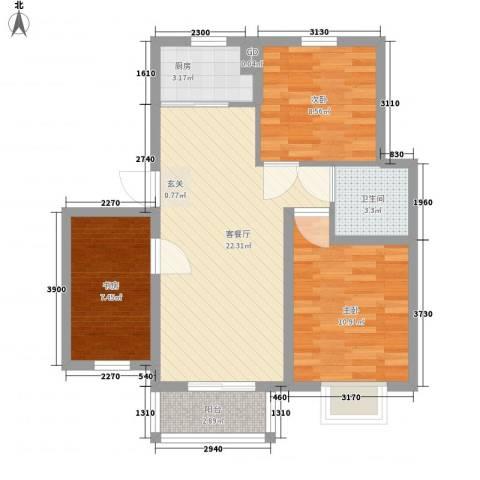 汇景豪庭3室1厅1卫1厨85.00㎡户型图