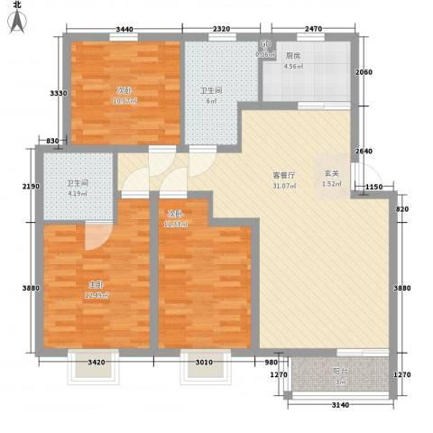汇景豪庭3室1厅2卫1厨119.00㎡户型图