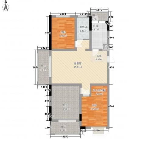 怡景花园2室1厅1卫1厨110.00㎡户型图
