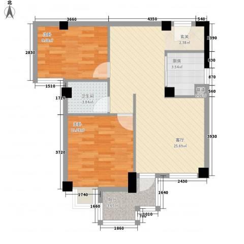 香悦美地2室1厅1卫1厨81.00㎡户型图