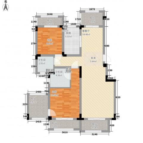 悦上海2室1厅2卫1厨104.00㎡户型图