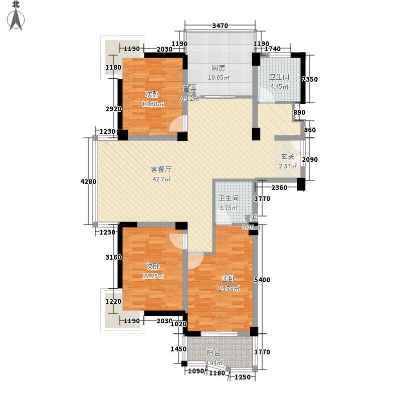 东方纽约城146.81㎡24、25#01单元户型3室2厅2卫1厨