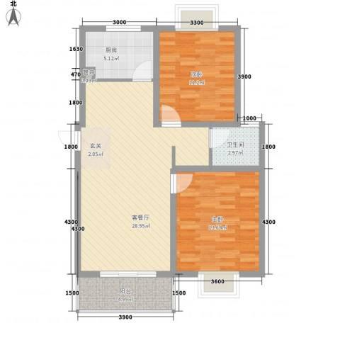 大桥新城2室1厅1卫1厨89.00㎡户型图