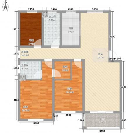 丹桂公寓3室0厅2卫1厨141.00㎡户型图
