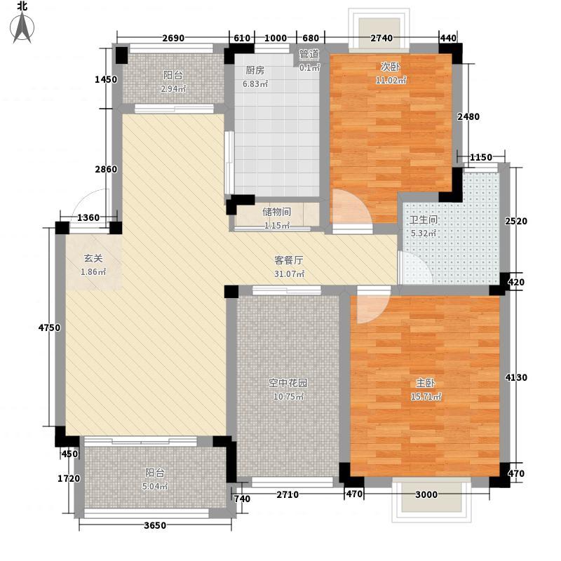 华美福邸130.00㎡华美福邸户型图11#D户型2室2厅1卫1厨户型2室2厅1卫1厨