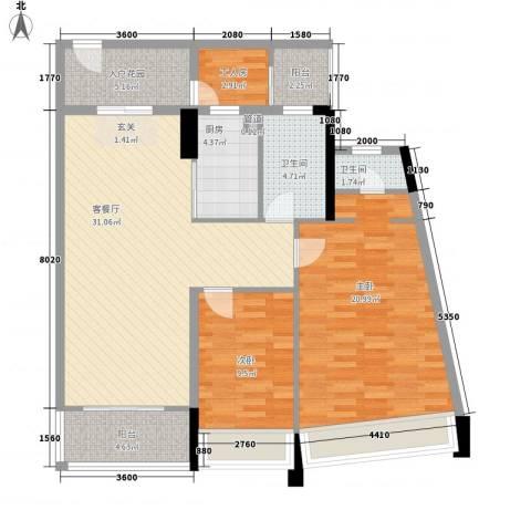 鸿洲・天玺2室1厅2卫1厨124.00㎡户型图