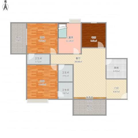 大唐盛世4室1厅3卫1厨167.00㎡户型图