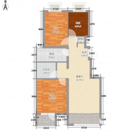明德景园大厦3室1厅1卫1厨99.00㎡户型图