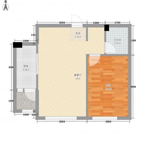哈佛特区项目1室1厅1卫1厨46.00㎡户型图